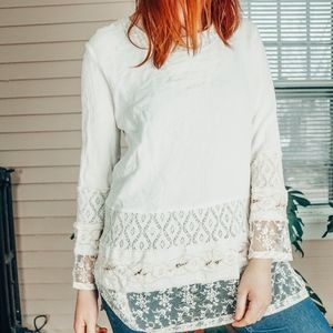 Vintage lace Trim waffle knit thermal medium